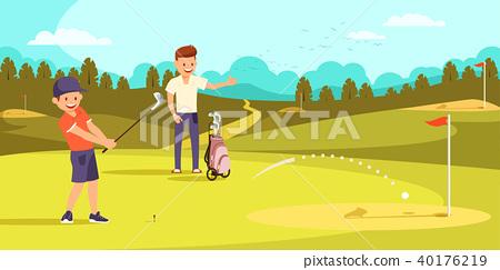 Joyful Boy is Hitting Ball with Golf Clubs 40176219