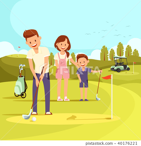 Illustration of Happy Family on Playing Golf. 40176221