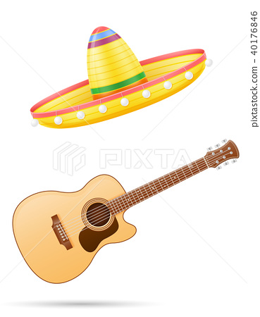 sombrero national mexican headdress and guitar 40176846