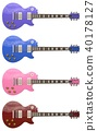 Set of 4 color stylish electric guitars on white background. 3d rendering. 40178127