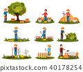 Flat vector set of farmer characters working outdoor. People engaged in gardening. Man picking 40178254