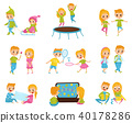 Flat vector set with cute little boy and girl in different actions. Jumping on trampoline, watching 40178286