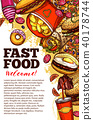 Fast food restaurant banner with takeaway menu 40178744