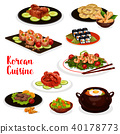 Korean cuisine icon with fish and meat dish 40178773