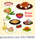 Korean food icon with dishes of Asian cuisine 40178890