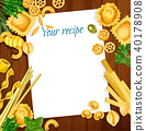 Italian cuisine recipe with pasta and herb on wood 40178908