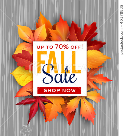 autumn sale vector poster fall foliage leaf bunch stock