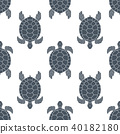 Seamless pattern with sea turtles. Cheloniidae. 40182180