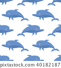 Seamless pattern with cartoon dolphins 40182187