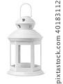 White metal retro candle lantern 40183112