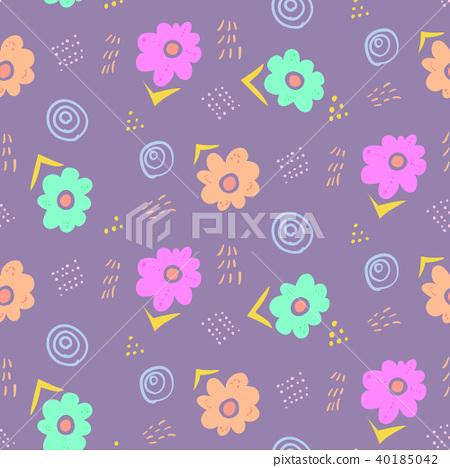 Tender pale violet doodle floral pattern 40185042
