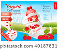 Fruit yogurt with berries advert concept.  40187631