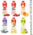 Set of yogurt in bottles with fruit and berries.  40187638
