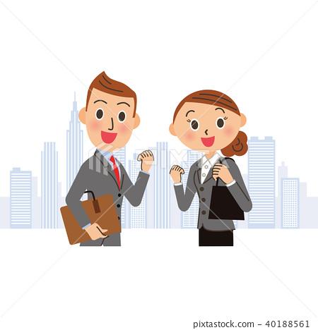 擺在困難的辦公室工作者的男人和婦女 40188561