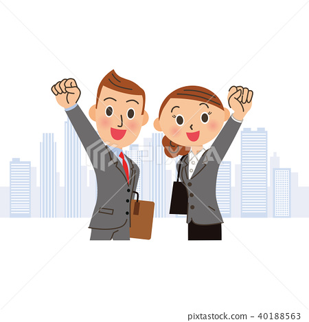 擺在困難的辦公室工作者的男人和婦女 40188563