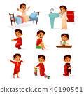 Muslim boy kid daily routine vector cartoon illustration 40190561