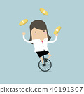 Businesswoman juggling coin while cycling. 40191307