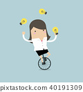 Businesswoman juggling light bulb while cycling. 40191309