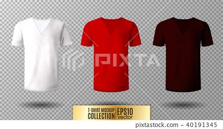 Realistic vector v-neck t-shirt mock up illustration. White, red, vinous 40191345