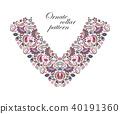Vector design for collar shirts, shirts, blouses. Colorful ethnic flowers neck. Paisley decorative 40191360