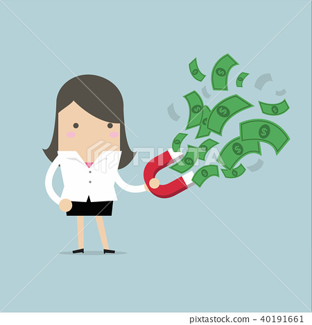 Businesswoman attracted banknotes with red magnets 40191661