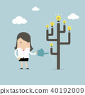 Businesswoman watering idea tree. 40192009
