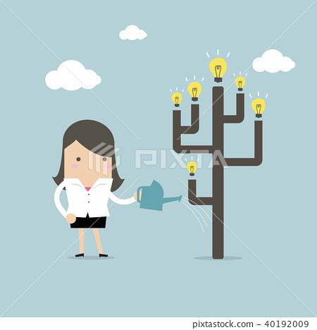 Businesswoman watering idea tree. 40192009