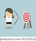 Businesswoman with archery bow and target. 40192016