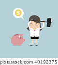 bank businesswoman piggy 40192375