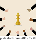 King of chess symbol with with many thumbs up hand 40192530