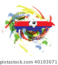 Soccer football with map and flags. 40193071