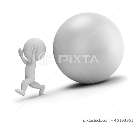 3d small people - runs away from the rolling ball 40193953