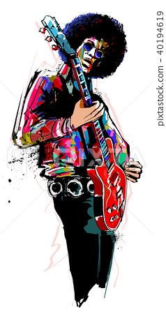 Guitar player with red electric guitar 40194619