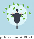 Businessman happy with a lot of dollar banknote. 40195587