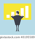 Businessman thumbs up to a growing bar chart. 40195589