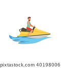 Male jet ski rider, extreme water sport activity vector Illustration on a white background 40198006
