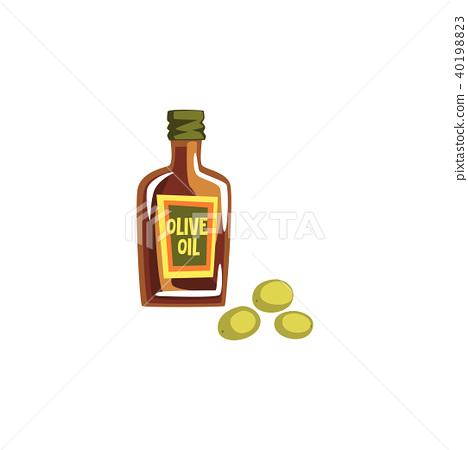 Glass Bottle Of Olive Oil Vector Illustration On A White