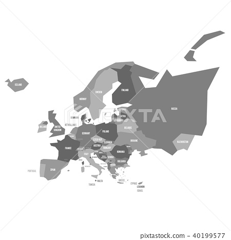 Very simplified infographical political map of Europe in grey color scheme. Simple geometric vector 40199577