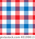 Lumberjack plaid pattern in red, white and blue. Seamless vector pattern. Simple vintage textile 40199613