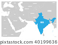 India blue marked in political map of South Asia and Middle East. Simple flat vector map 40199636