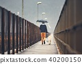 Man with dog is walking in rain 40200150