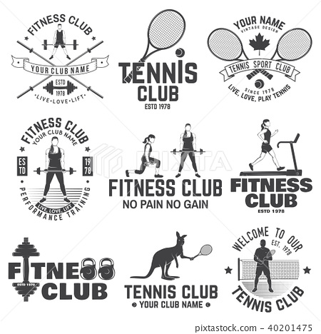 Set of fitness and tennis club concept with girls doing exercise and tennis player silhouette. 40201475