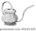 Vector Artistic Illustration or Drawing of Antique Brass Watering Jug or Can 40202305