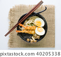 japanese white udon noodle in black bowl 40205338