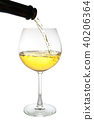 white wine pouring in a glass from a bottle 40206364