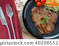 steak with salad and tomatoes on wood background 40206552