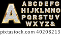 Golden diamond shiny letters isolated on black background. 40208213