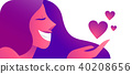 Girl in love with heart icons concept web banner 40208656