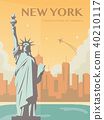 Statue of Liberty. New York landmark and symbol of Freedom and Democracy. Vector 40210117