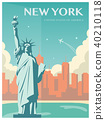 Statue of Liberty. New York landmark and symbol of Freedom and Democracy. Vector 40210118